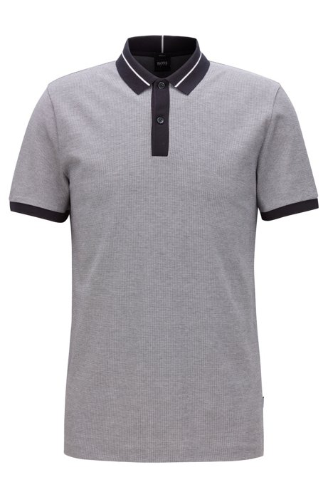Slim-fit polo shirt in air-cool stretch cotton, Open Blue