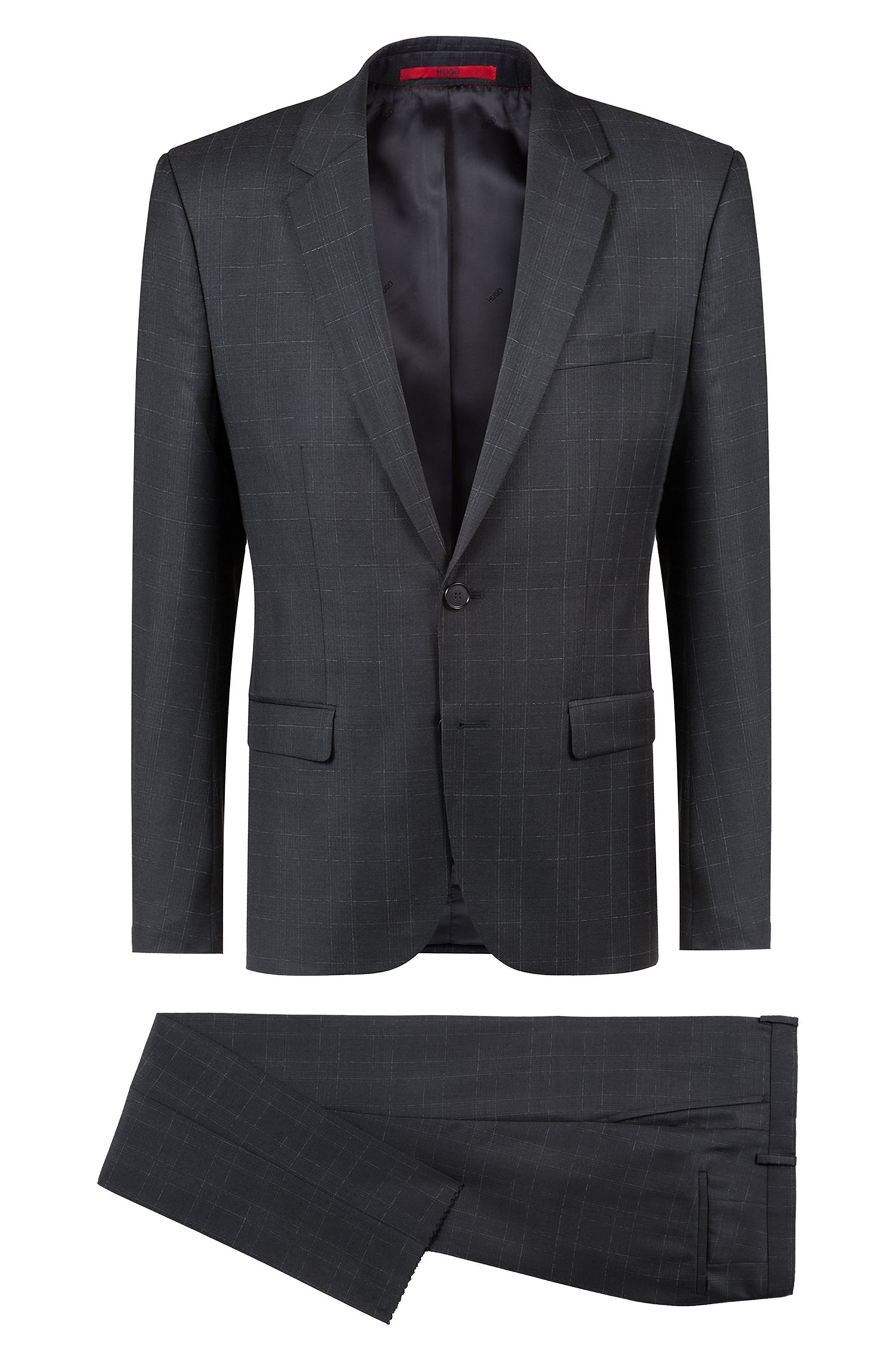 Extra-slim-fit checked suit in virgin wool, Charcoal