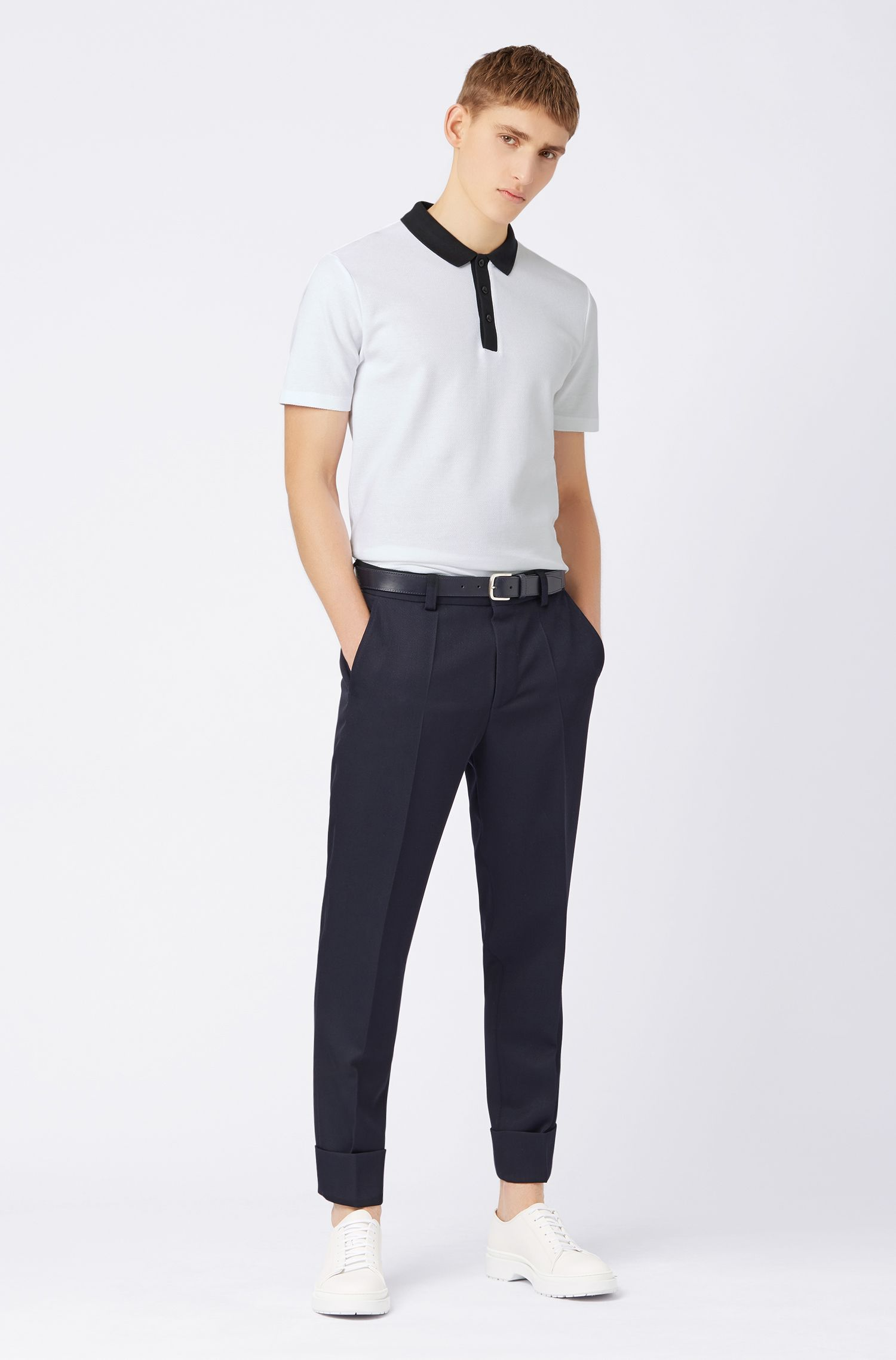 Regular-fit polo shirt in honeycomb cotton piqué, White
