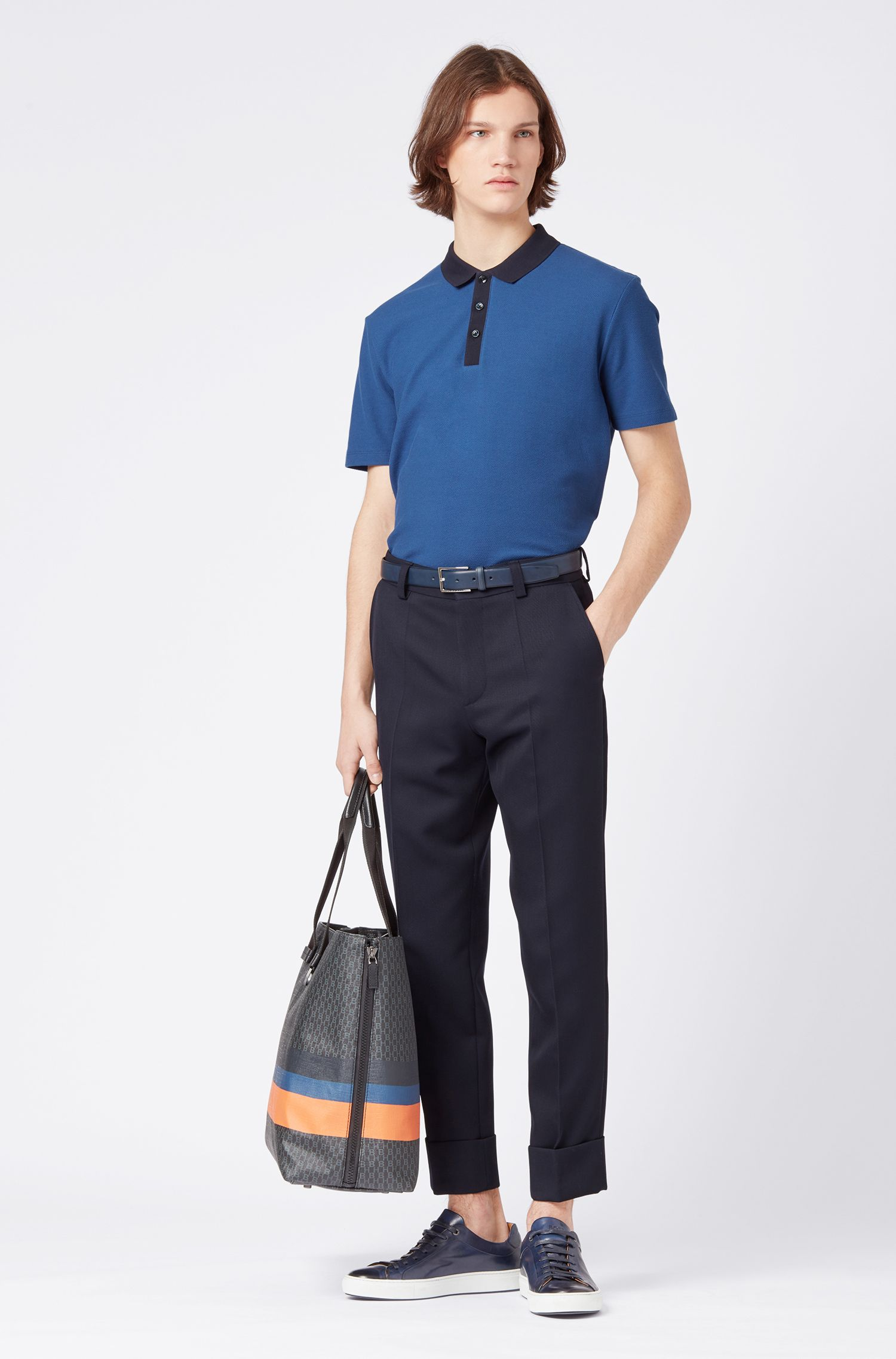 Regular-fit polo shirt in honeycomb cotton piqué, Dark Blue
