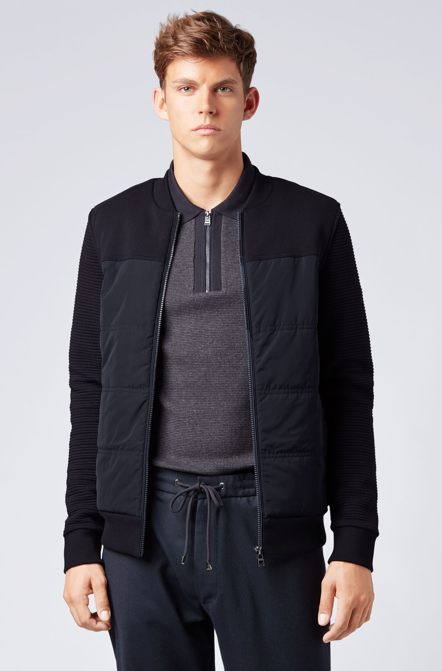 Bomber-style sweatshirt with padded body and textured sleeves, Open Blue