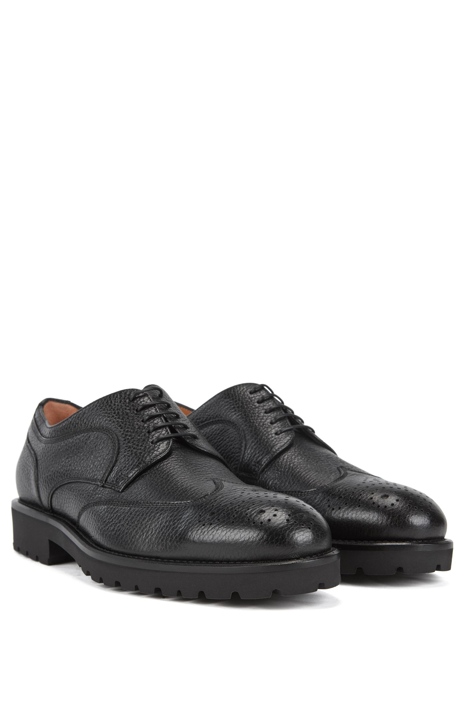 Italian-made lace-up Derby shoes in grained leather, Black