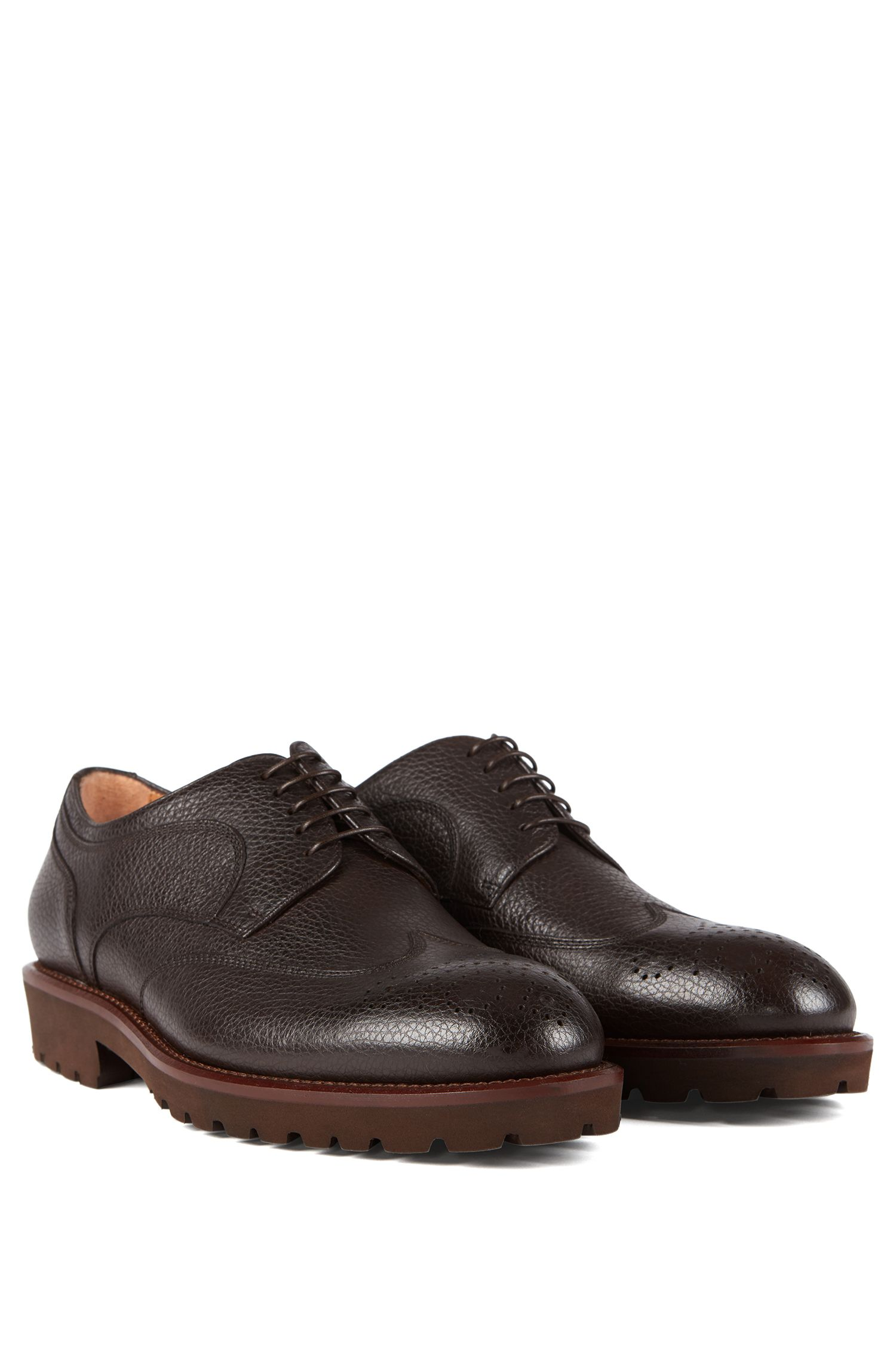 Italian-made lace-up Derby shoes in grained leather, Dark Brown