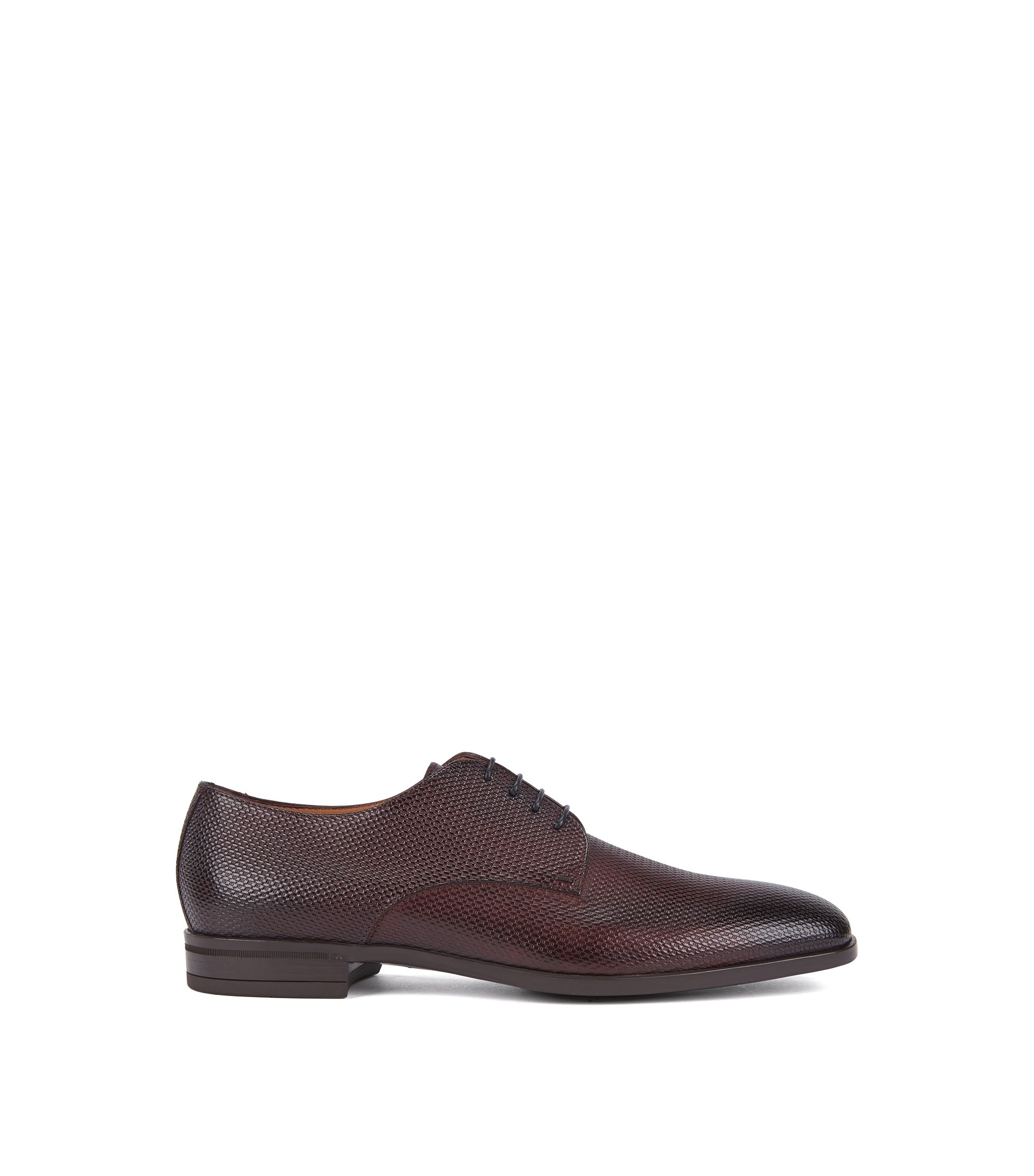Derby shoes in monogram-embossed leather, Dark Red