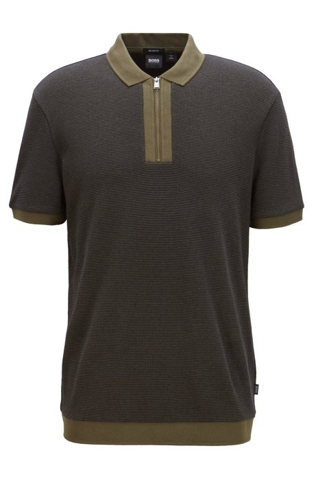 Relaxed-fit polo shirt in cotton with zipper neck, Dark Green