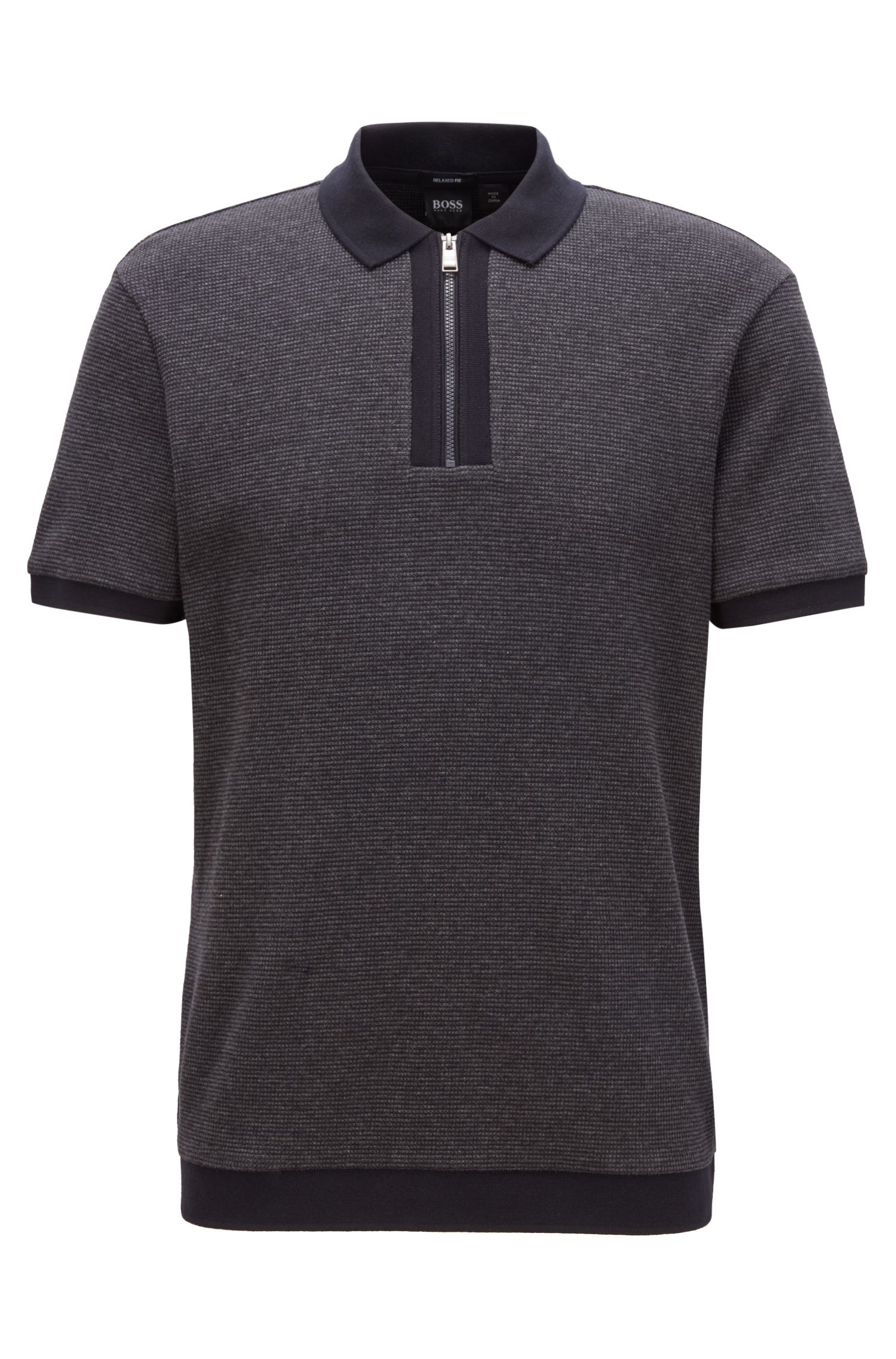 Relaxed-fit polo shirt in cotton with zipper neck, Open Blue