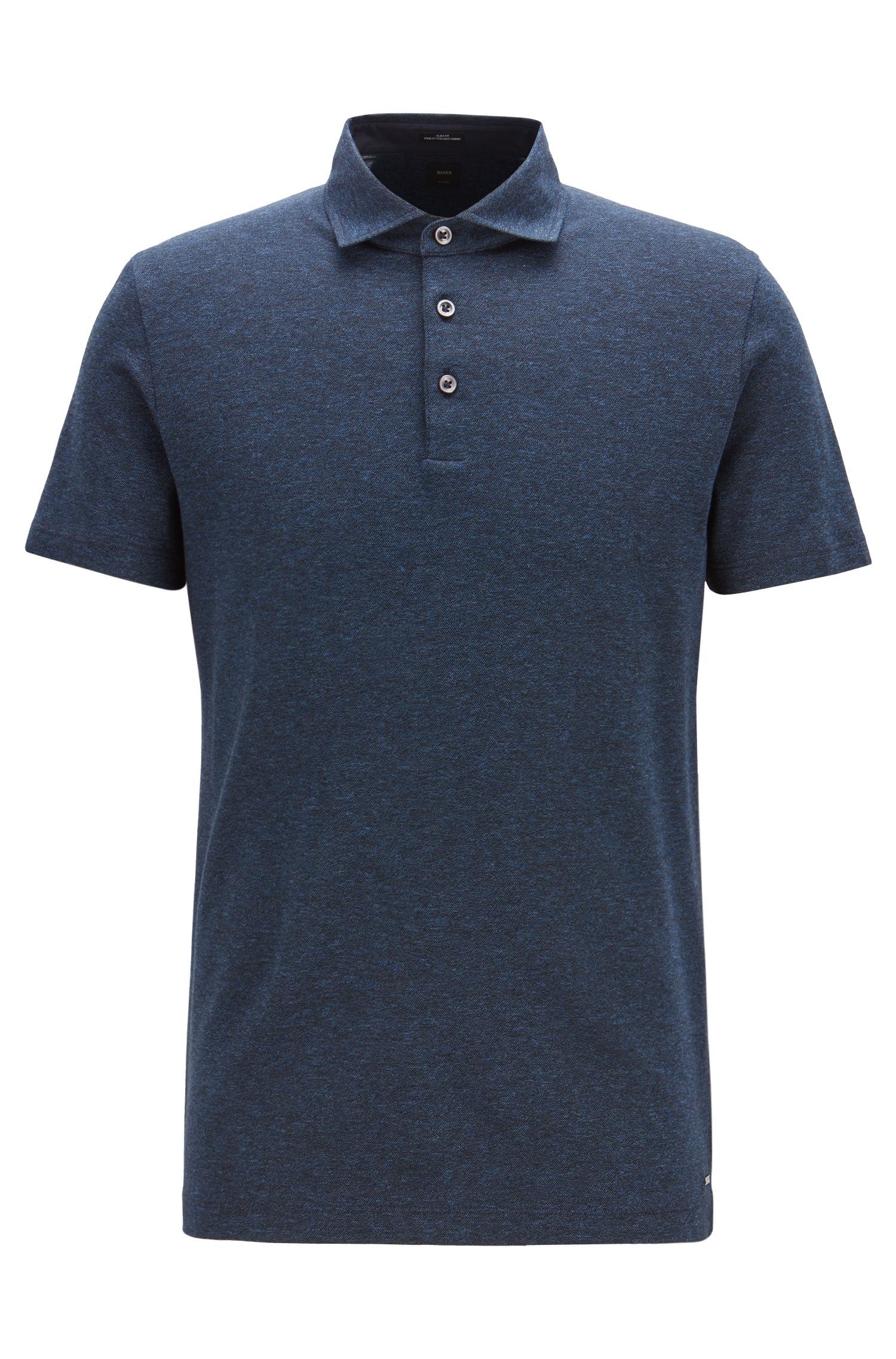 Slim-fit polo shirt in Italian mouliné piqué , Open Blue