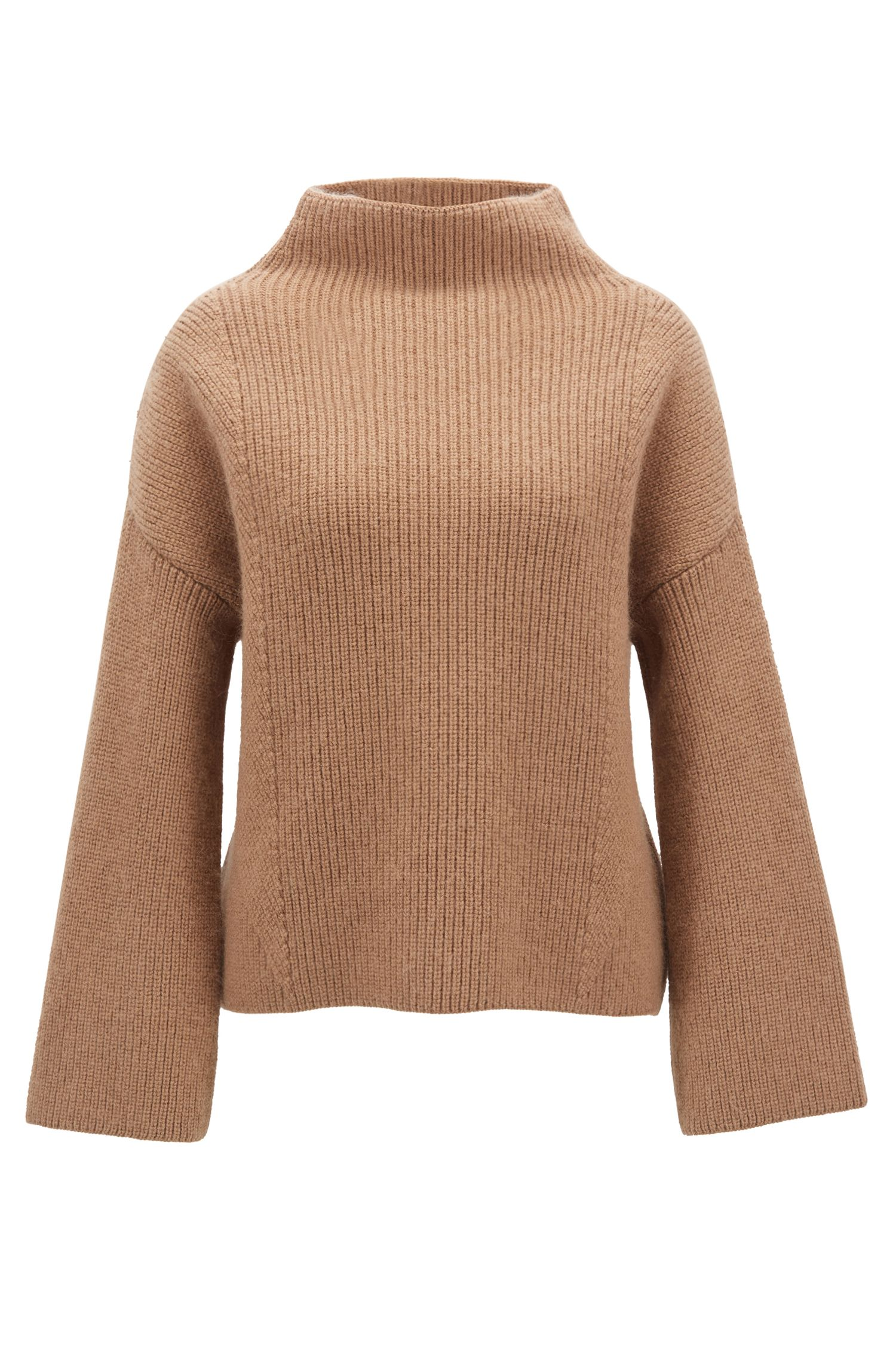 Stand-collar sweater in an Italian virgin-wool blend, Brown