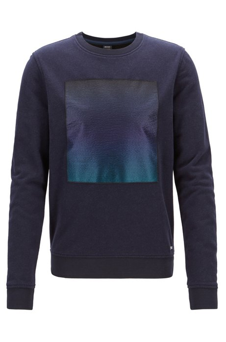 30f2ddf82 BOSS - Brushed terry sweatshirt with embroidered patch and dégradé print