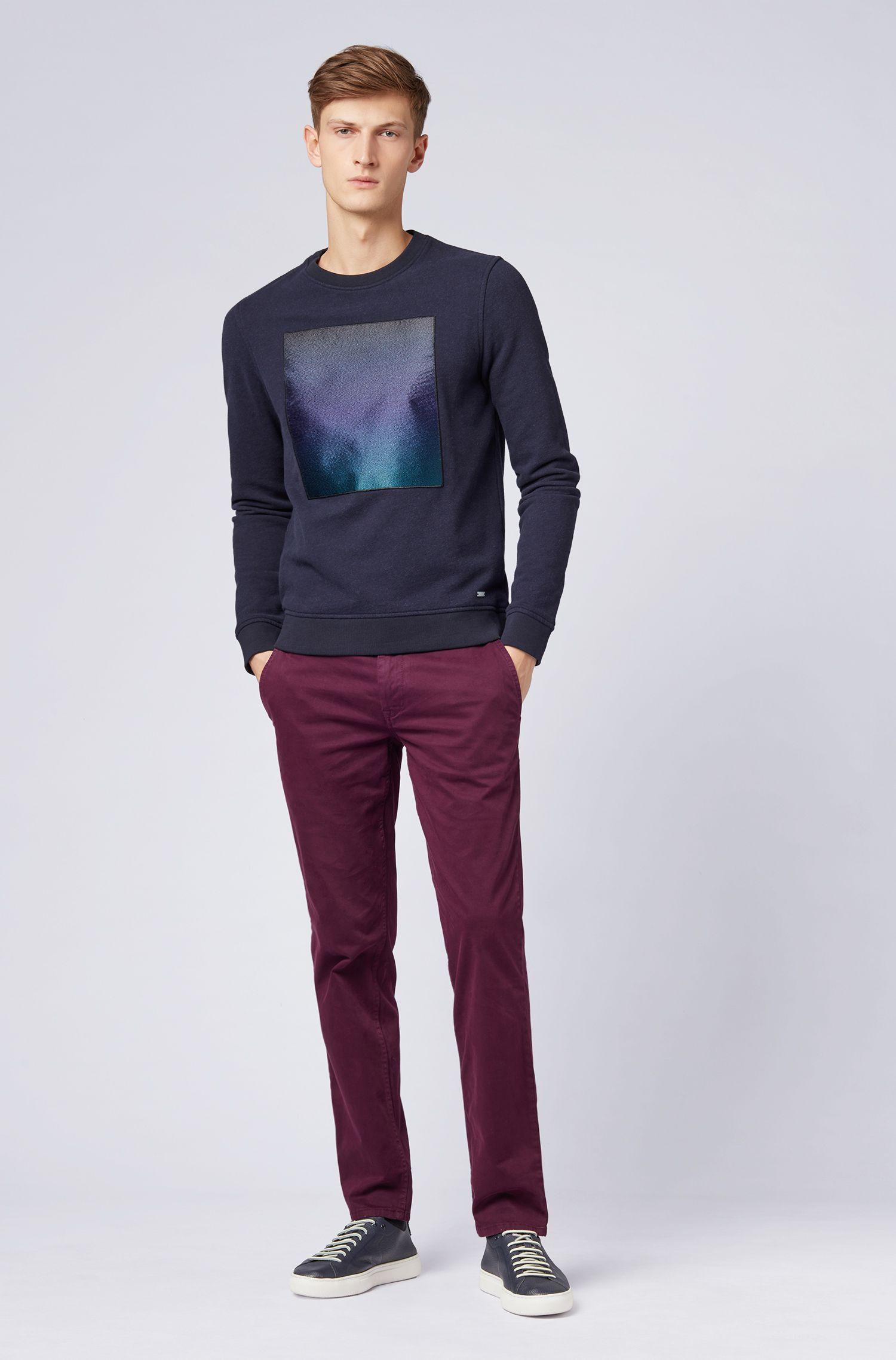 Brushed terry sweatshirt with embroidered patch and dégradé print, Dark Blue