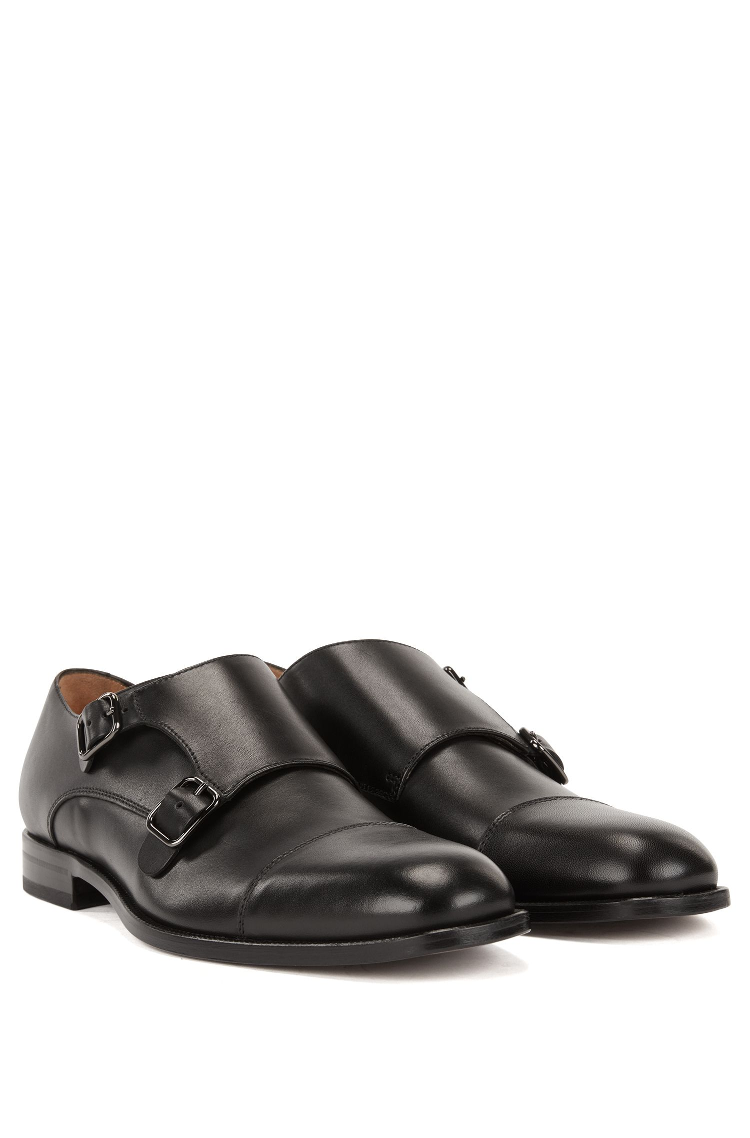 Double-monk shoes in smooth calf leather, Black