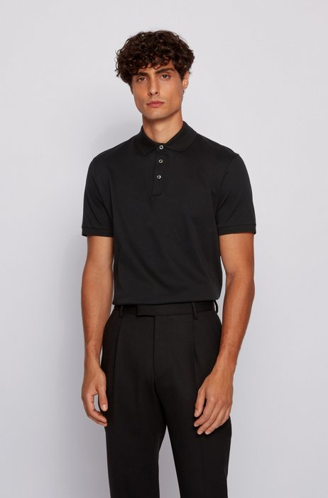 Regular-fit polo shirt in Italian interlock cotton, Black