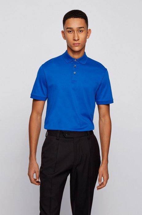 Regular-fit polo shirt in Italian interlock cotton, Light Blue