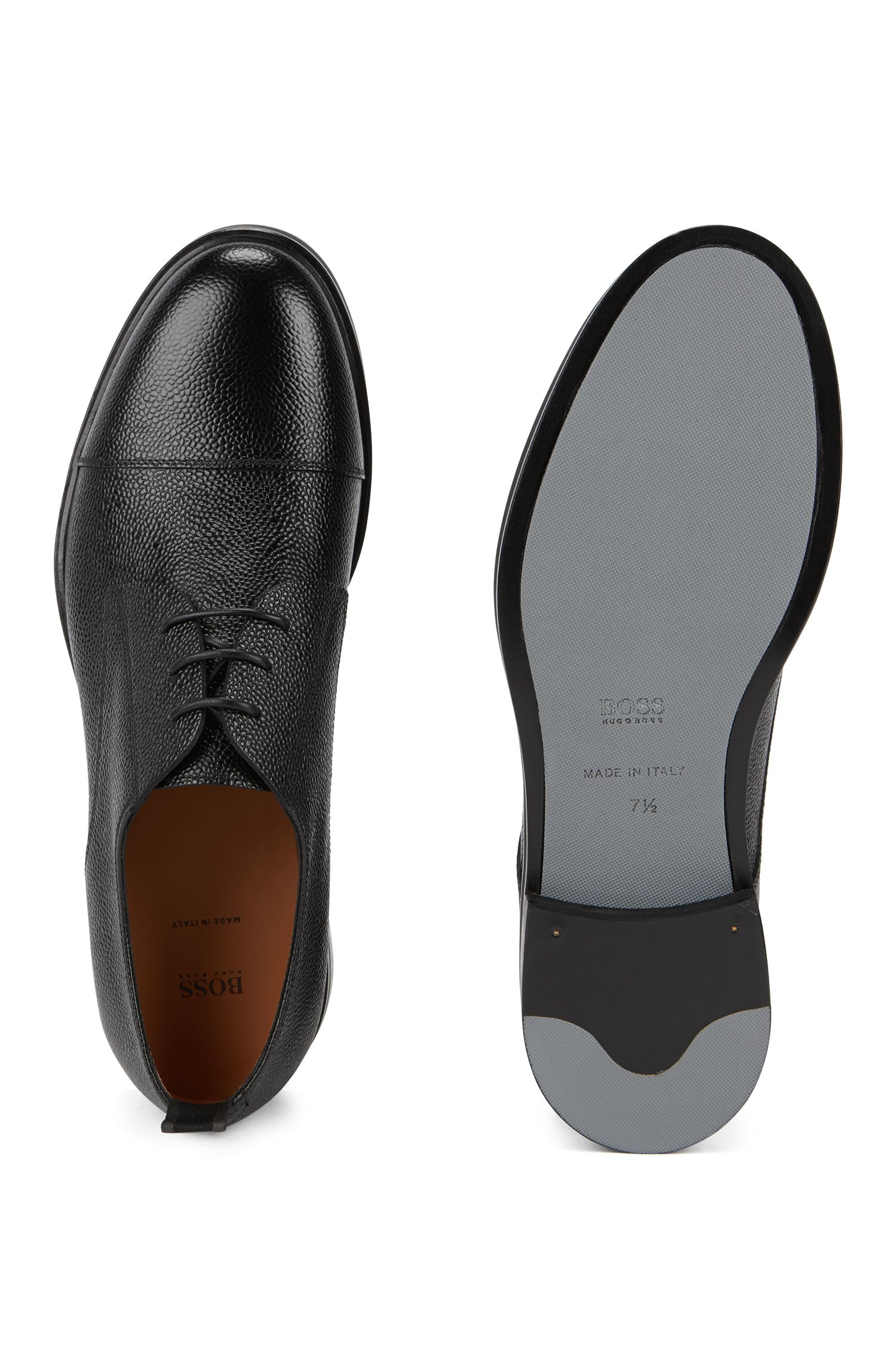Italian-made Derby shoes in grainy Scotch leather, Black