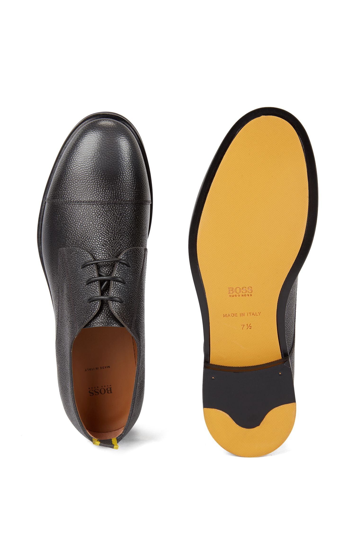 Italian-made Derby shoes in grainy Scotch leather, Grey