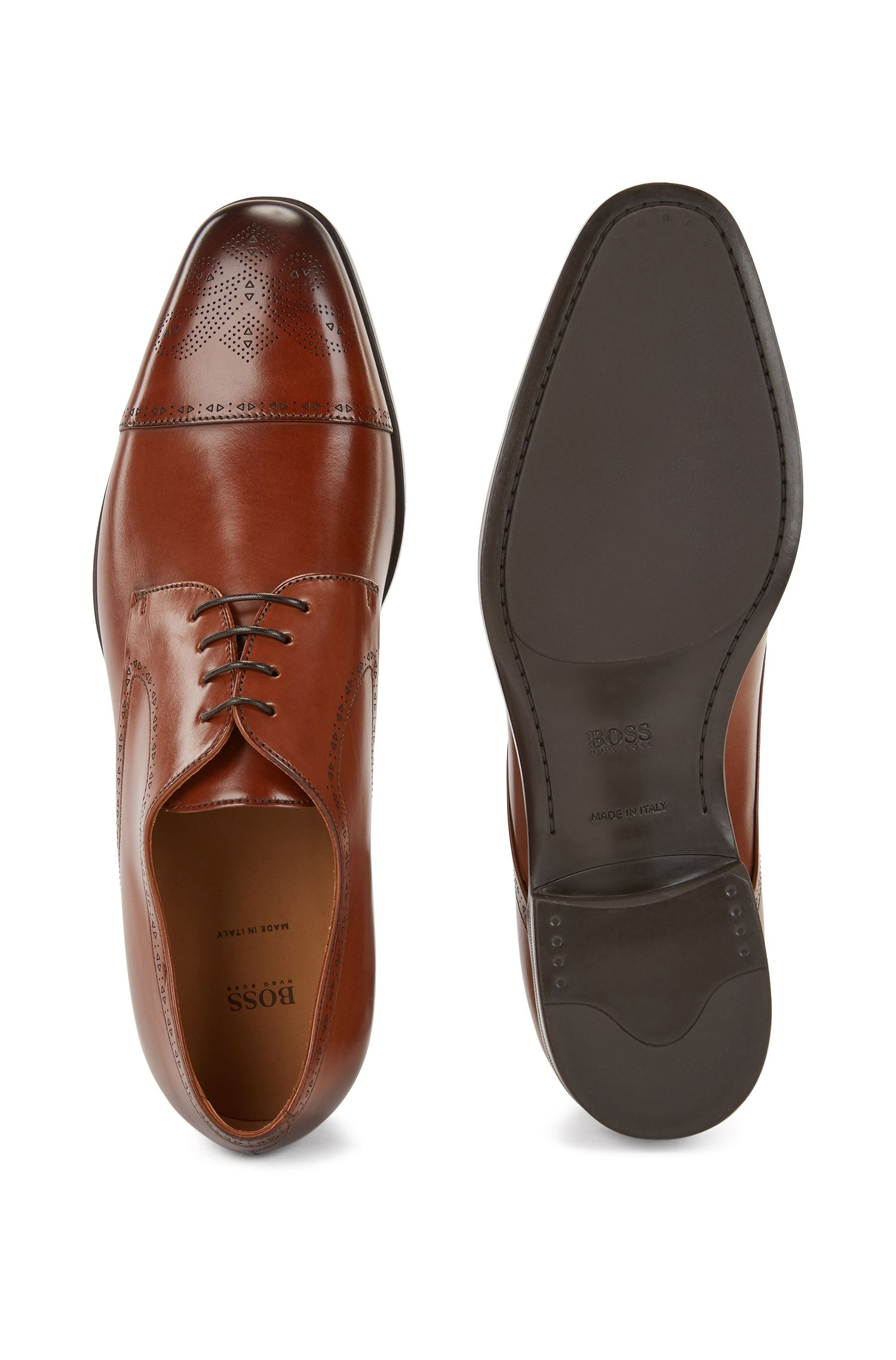 Laser-cut Derby shoes in burnished leather with brogue detailing, Brown