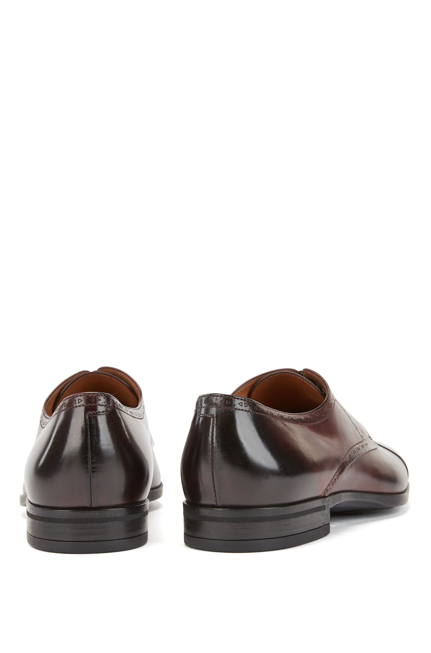 Laser-cut Derby shoes in burnished leather with brogue detailing, Dark Red
