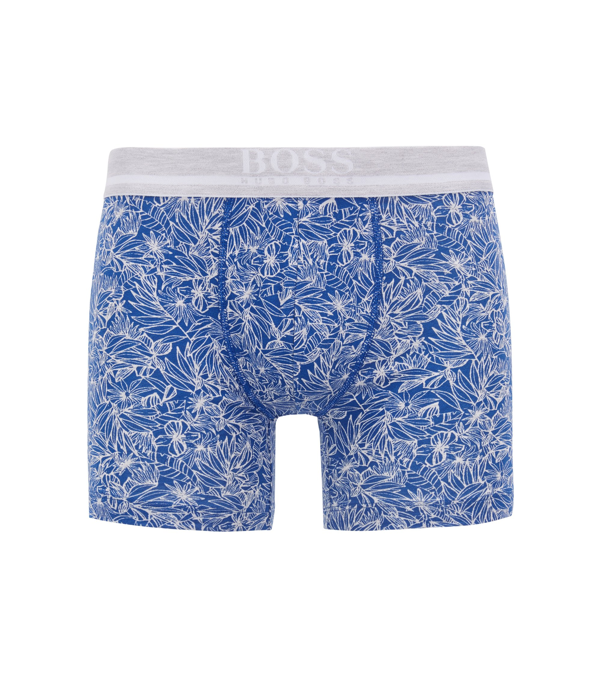 Stretch-cotton boxer briefs with tropical print, Open Blue