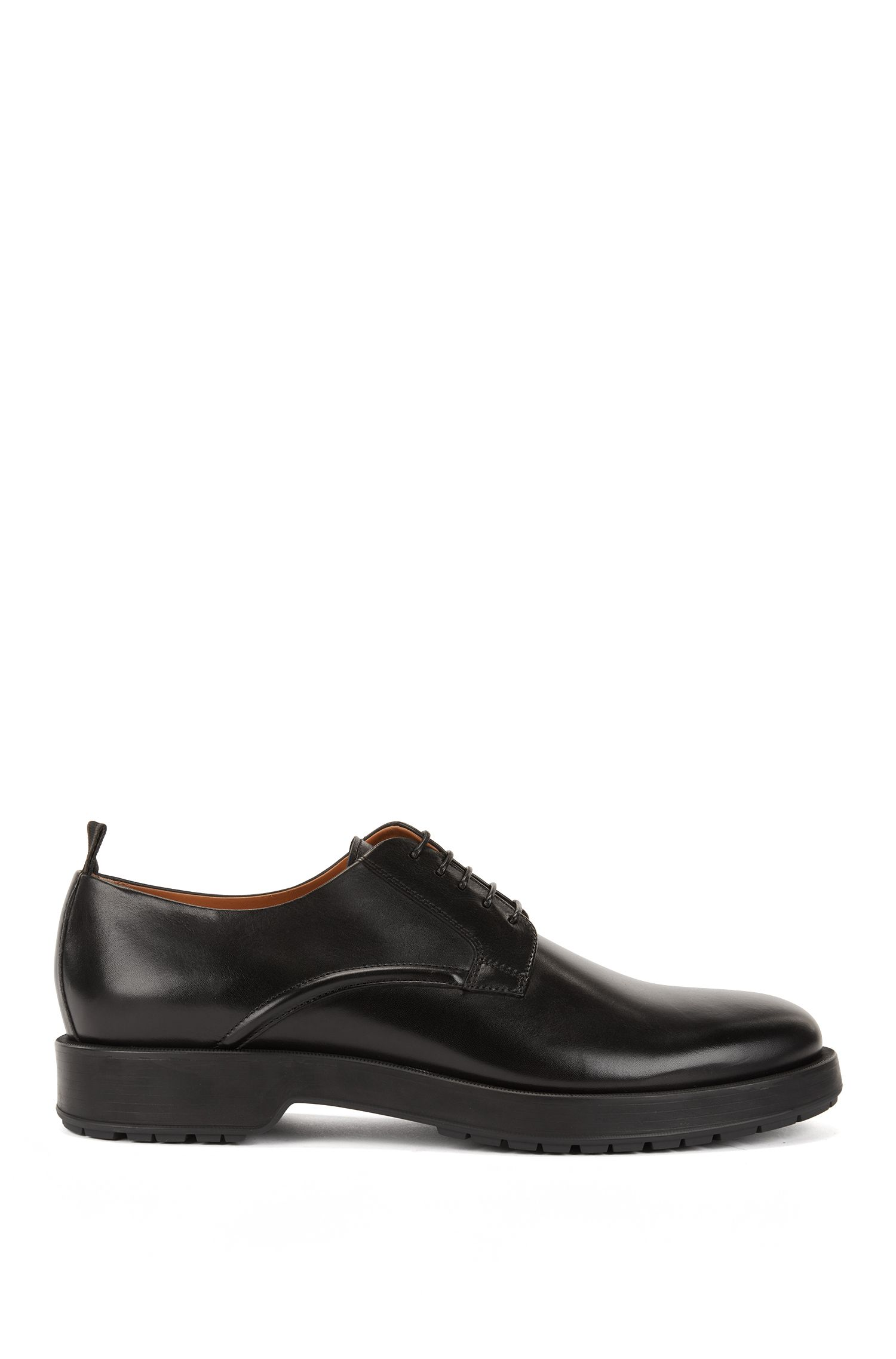 Derby shoes in burnished calf leather with lug sole, Black