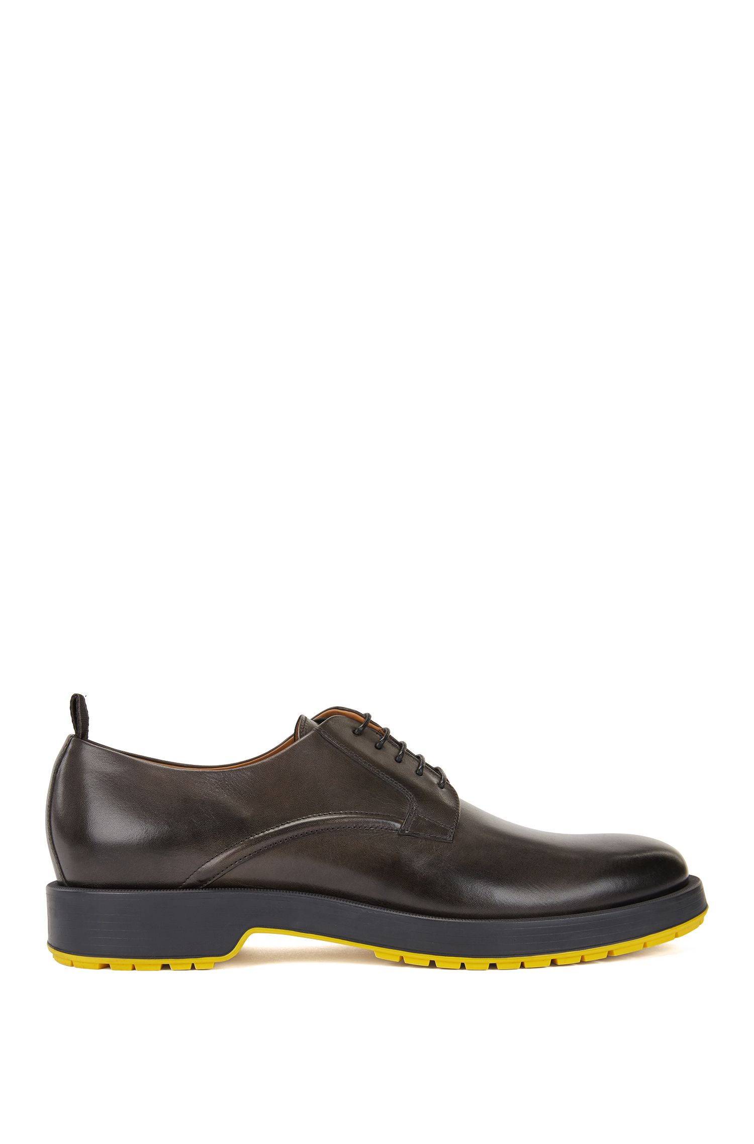 Derby shoes in burnished calf leather with lug sole, Dark Grey