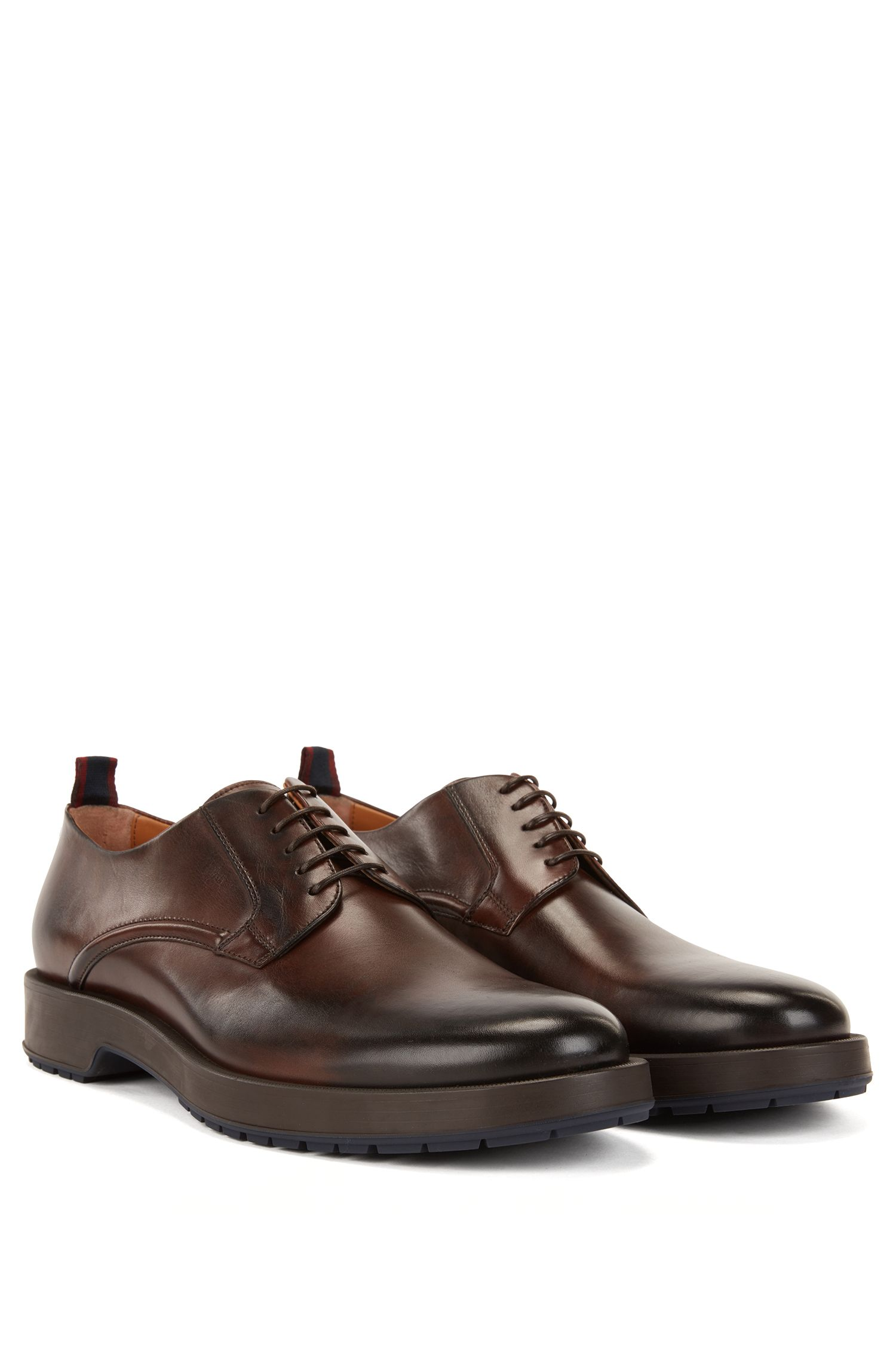 Derby shoes in burnished calf leather with lug sole, Dark Brown