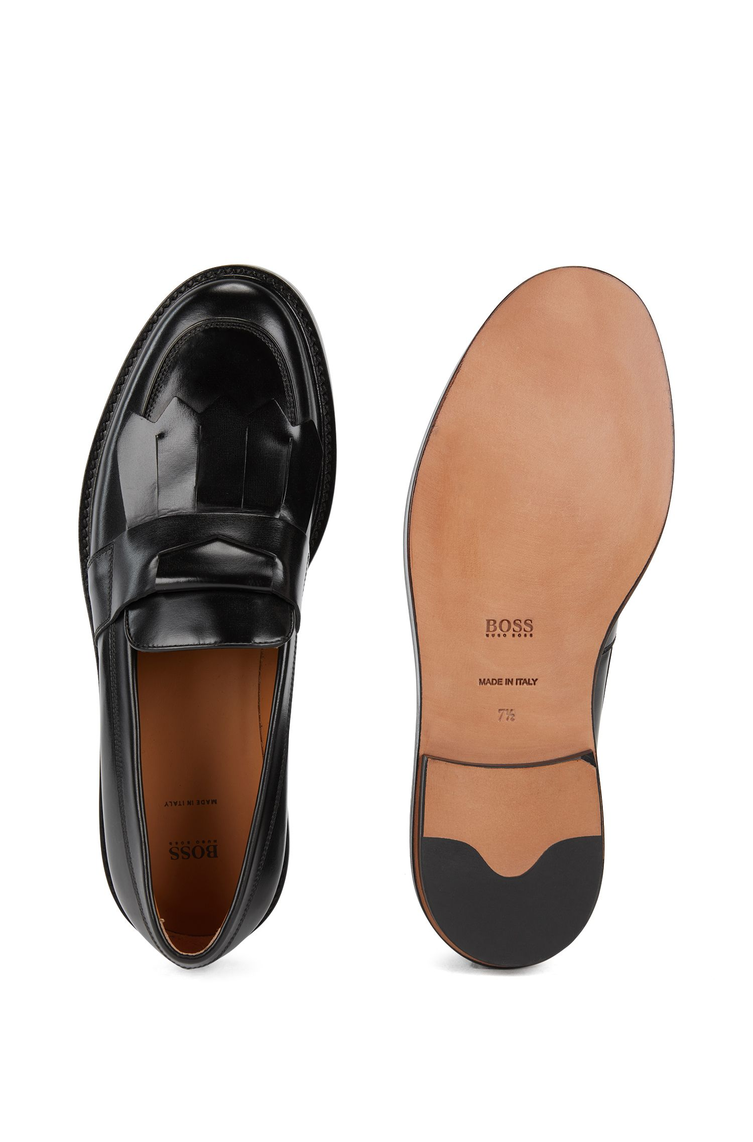 Kilted-trim loafers in patent calf leather, Black