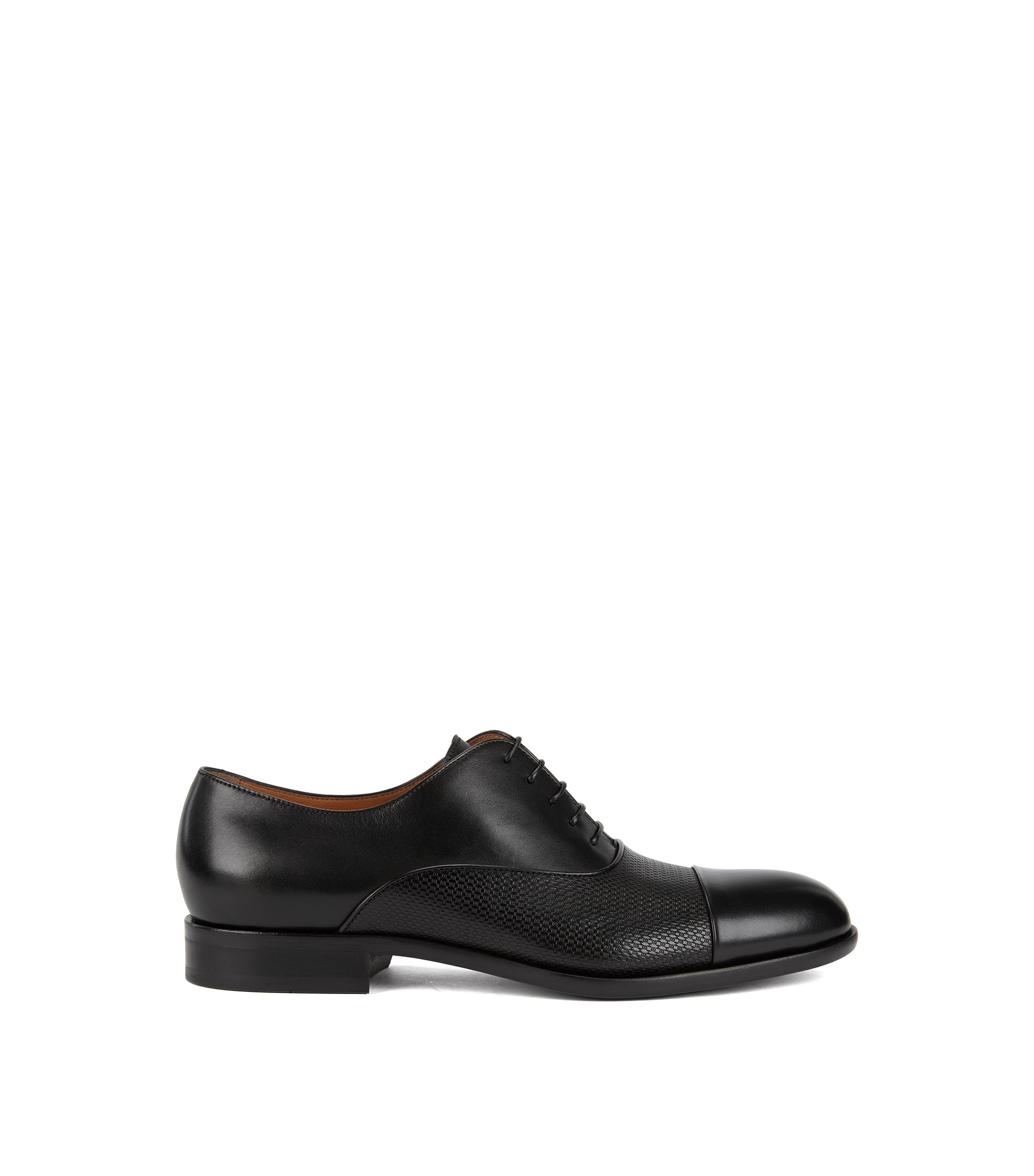 Italian-made Oxford shoes in monogram-embossed calf leather, Black