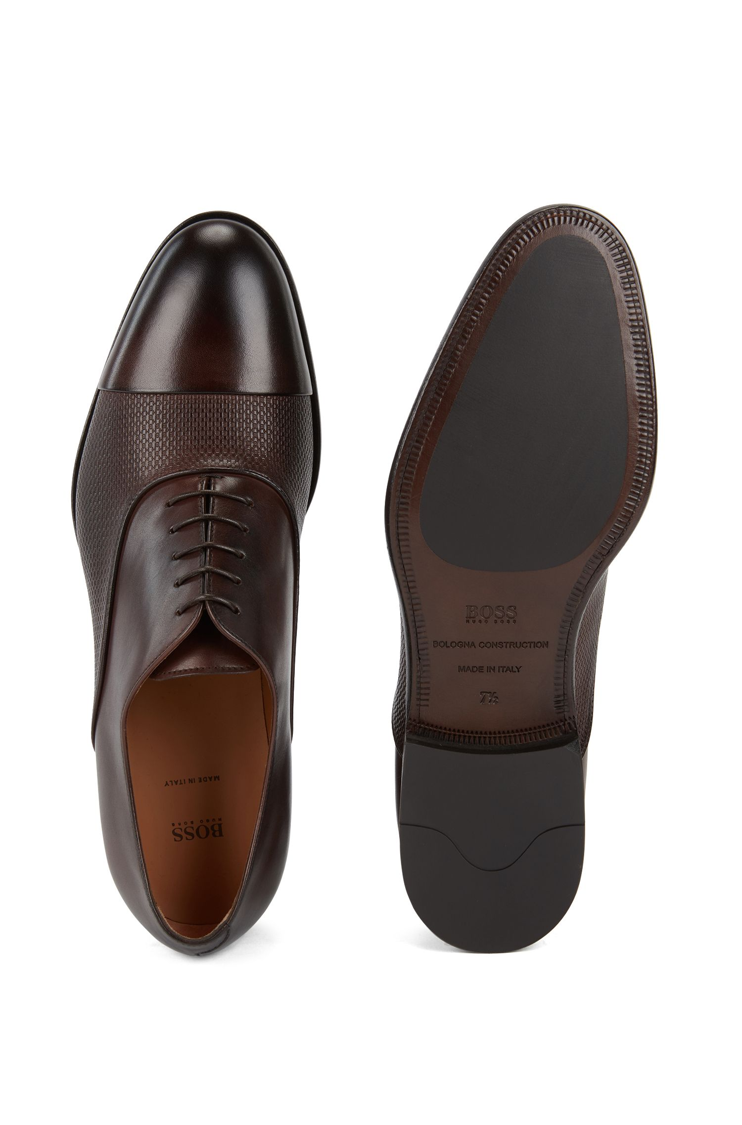 Italian-made Oxford shoes in monogram-embossed calf leather, Dark Brown