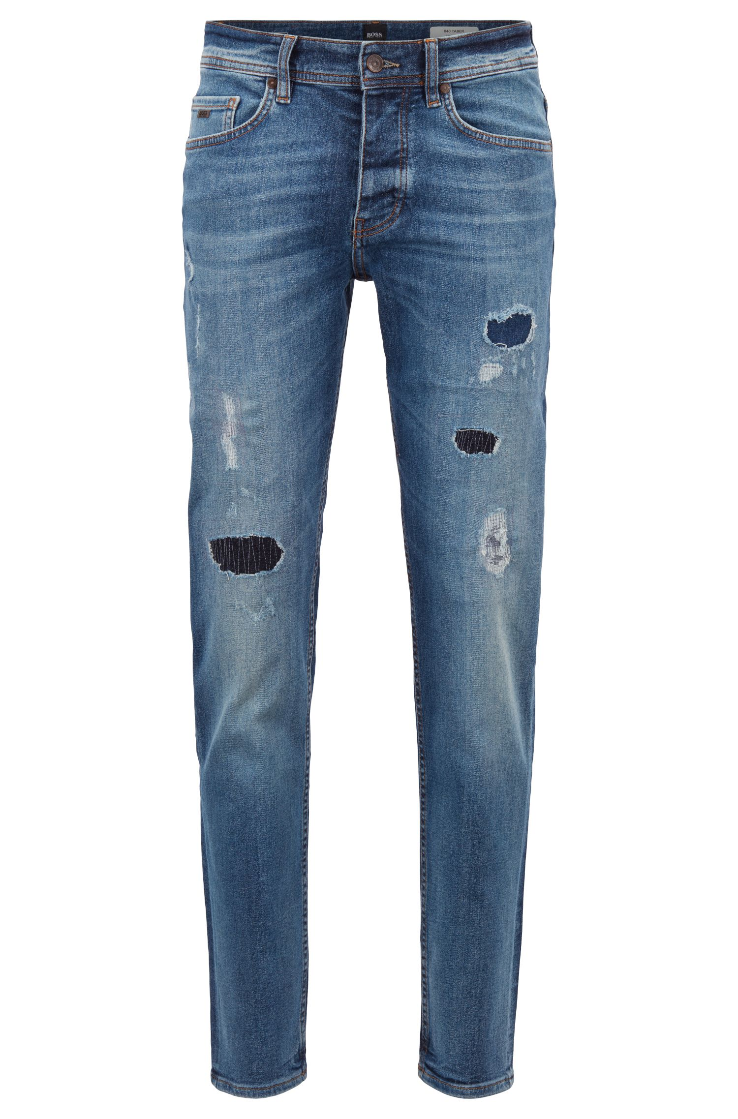 Tapered-fit jeans in recycled stretch denim, Blue