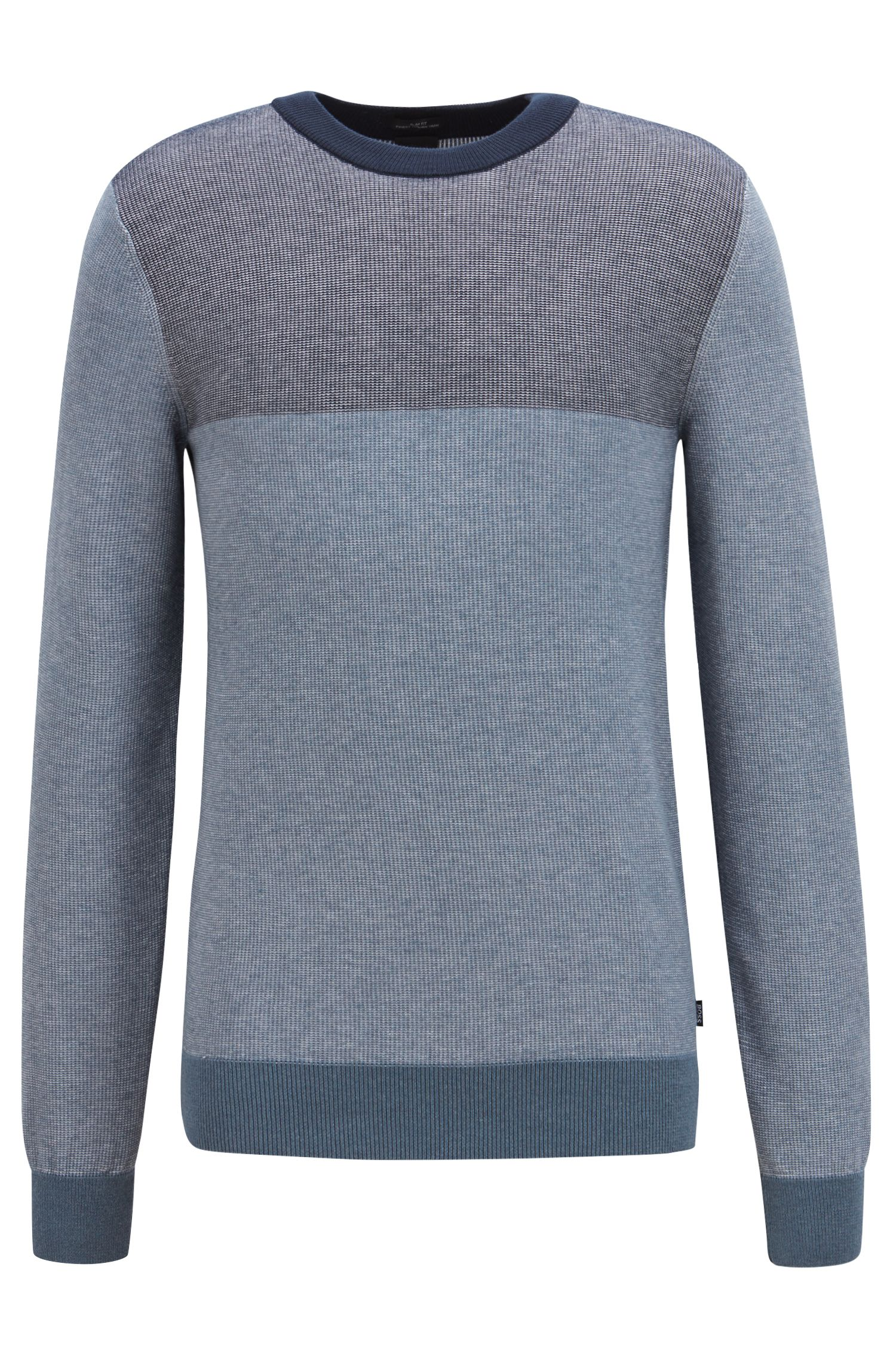 Slim-fit colorblock sweater in melange cotton, Silver