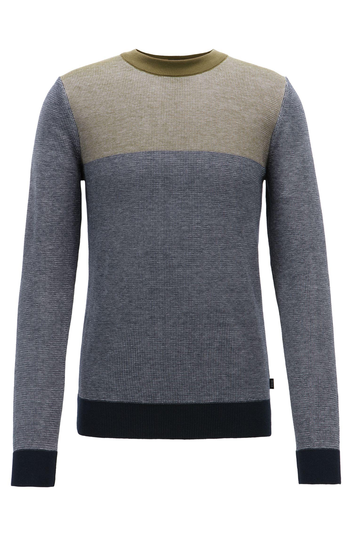 Slim-fit colorblock sweater in melange cotton, Open Blue