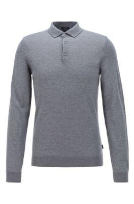 Merino-wool sweater with polo collar, Grey