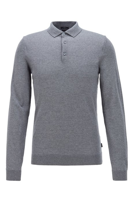 Merino-wool sweater with polo collar, Grey