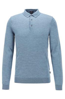 Merino-wool sweater with polo collar, Open Blue