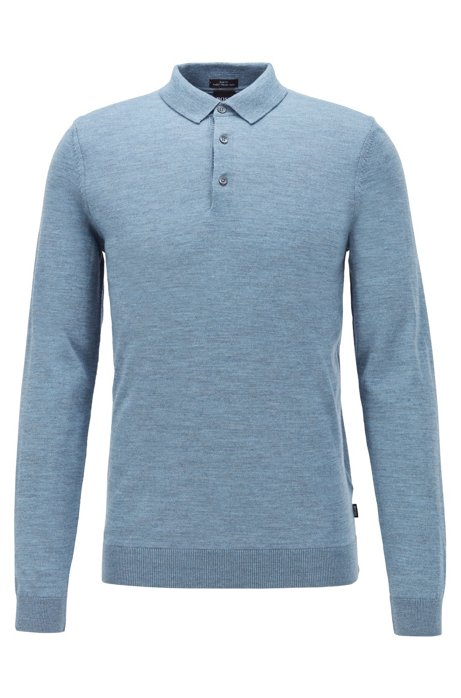 Merino-wool sweater with polo collar, Open Blue