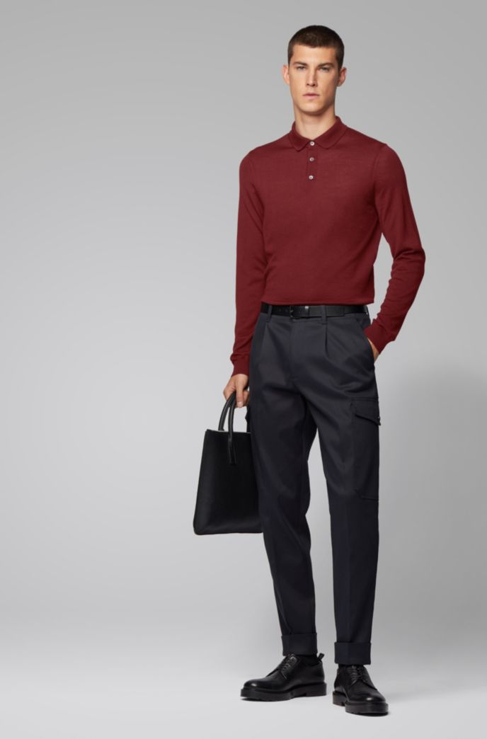 Merino-wool sweater with polo collar