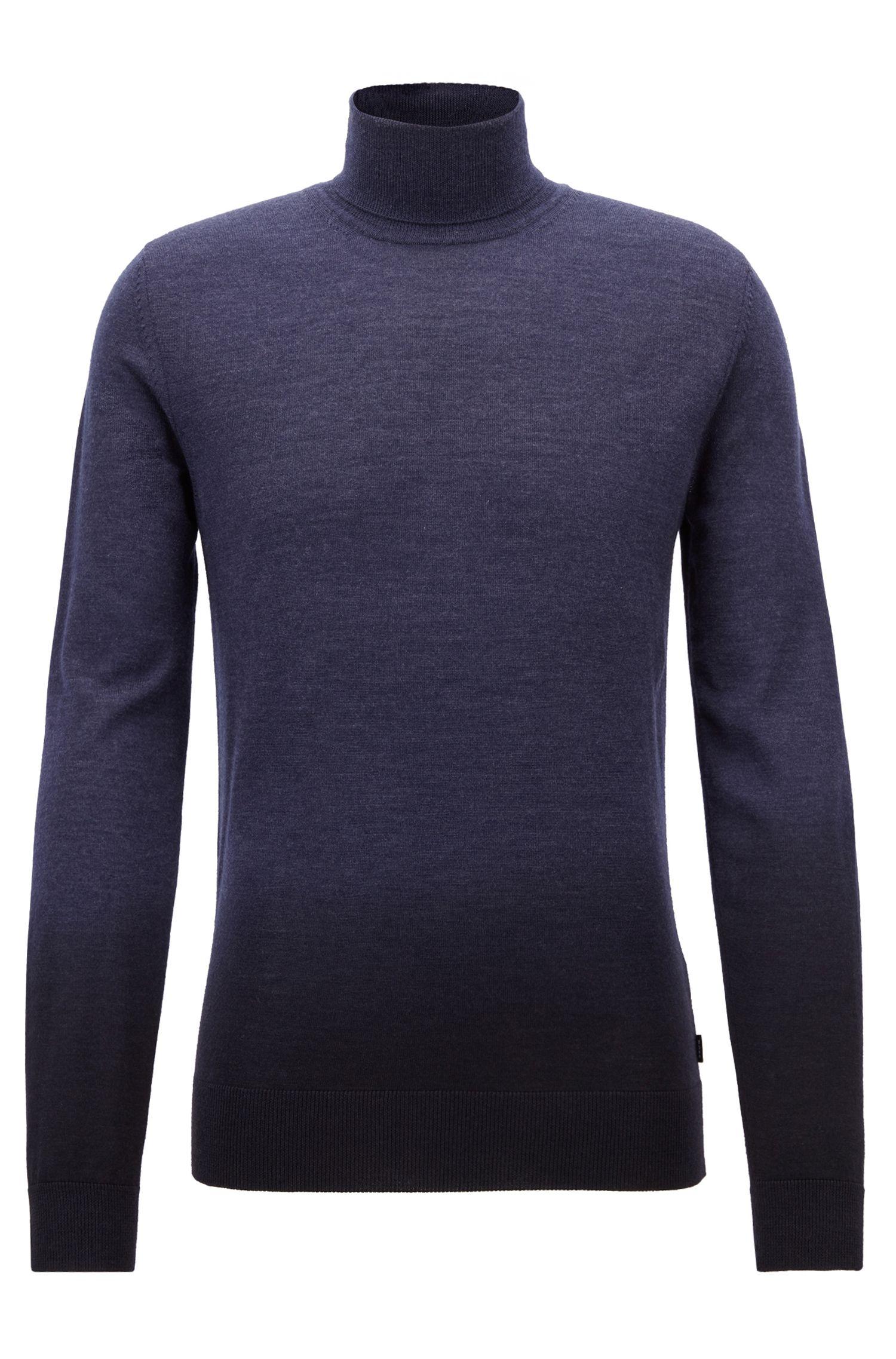 Dip-dyed turtleneck sweater in virgin wool with silk, Open Blue