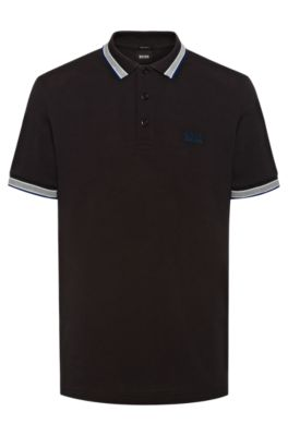 Cotton-piqué polo shirt with logo undercollar, Black
