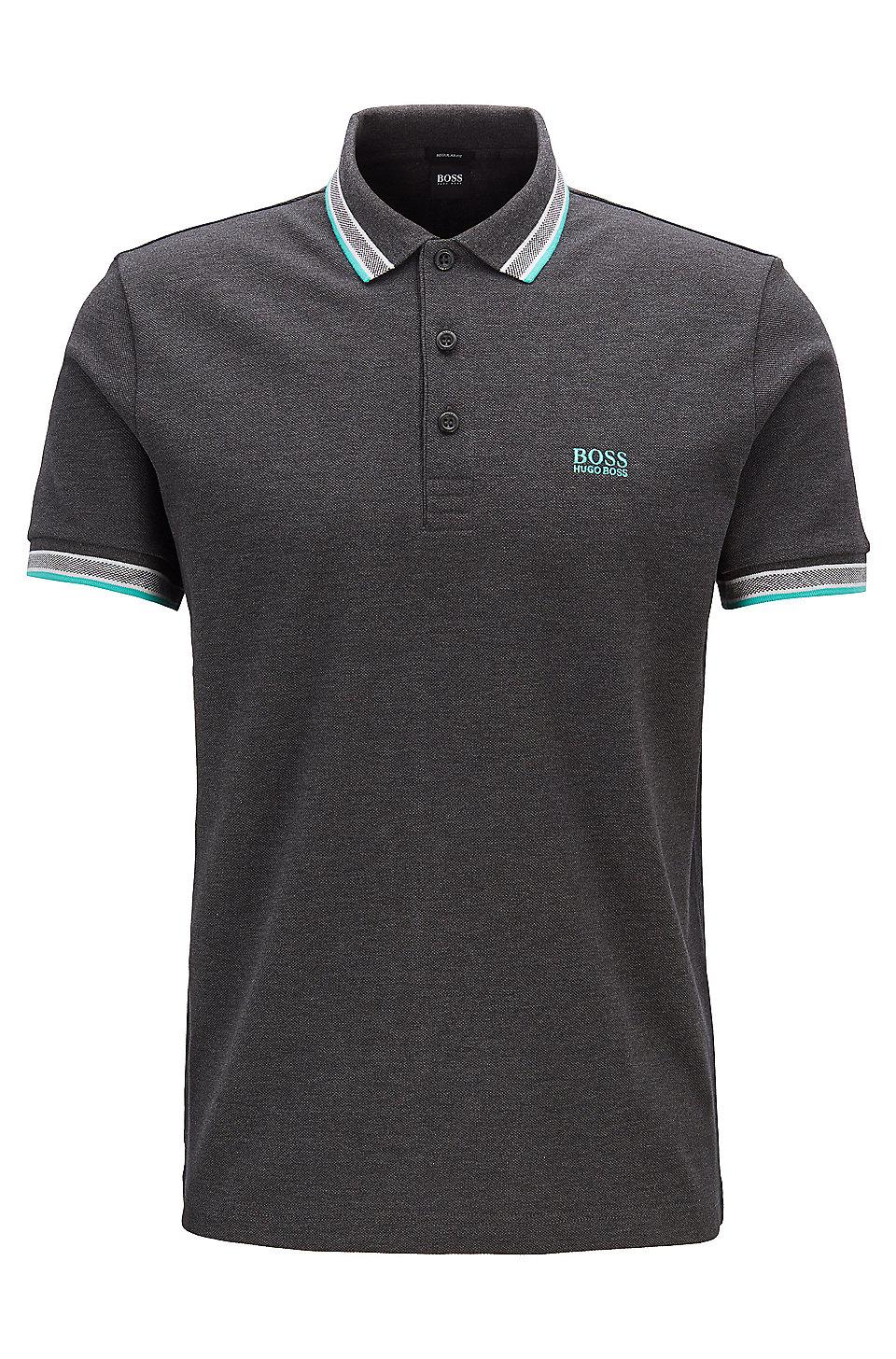 bfbb0d1f9607 BOSS - Cotton-piqué polo shirt with logo undercollar