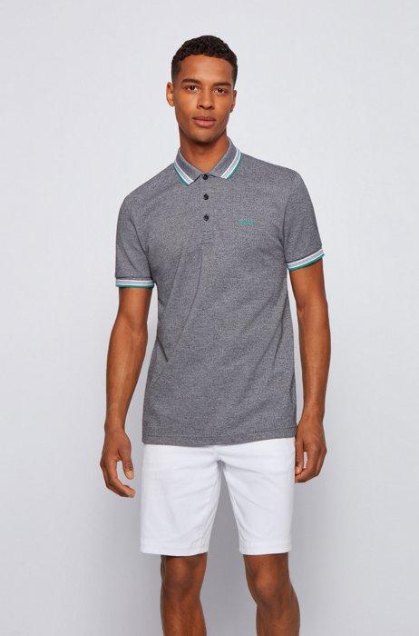 Cotton-piqué polo shirt with logo undercollar, Dark Grey