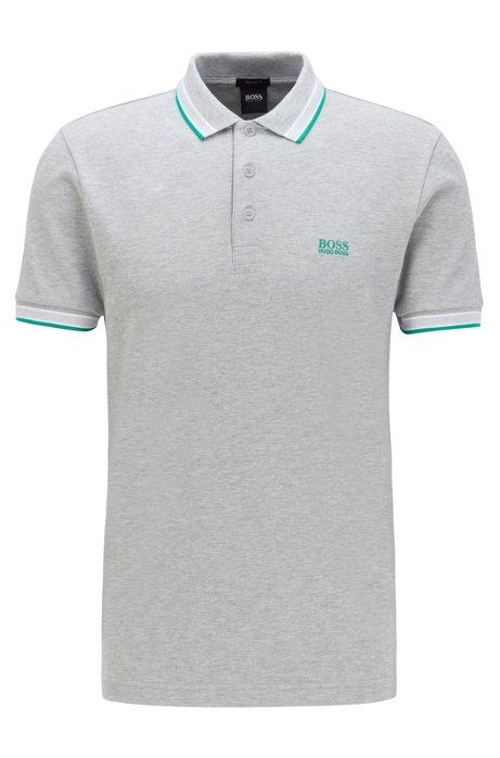 Cotton-piqué polo shirt with logo undercollar, Open Grey
