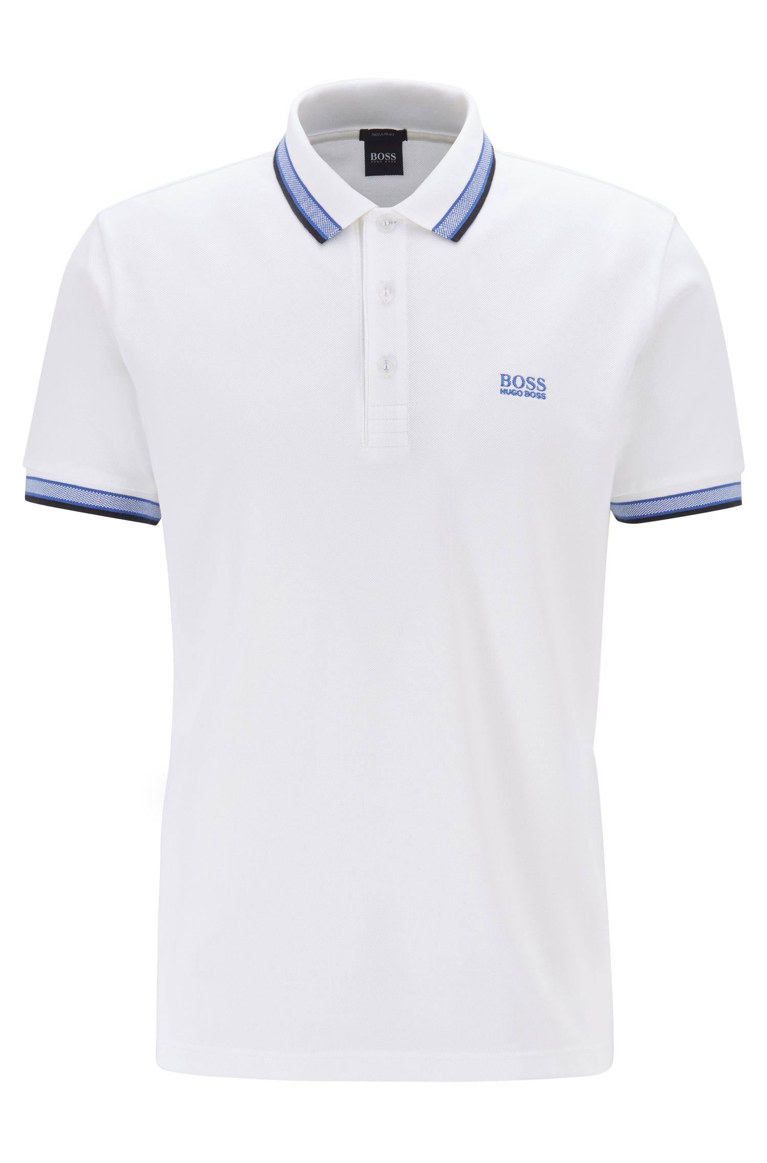 Cotton-piqué polo shirt with logo undercollar, Natural