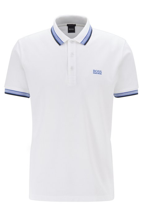 Cotton-piqué polo shirt with logo undercollar, Natural