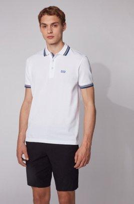 Cotton-piqué polo shirt with logo undercollar, White