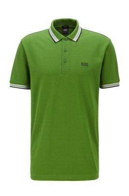 Cotton-piqué polo shirt with logo undercollar, Green