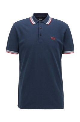 Cotton-piqué polo shirt with logo undercollar, Dark Blue