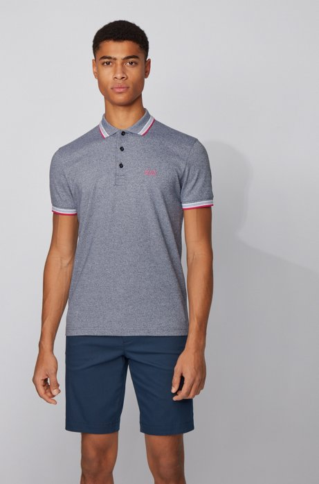 Cotton-piqué polo shirt with logo undercollar, Dark Blue