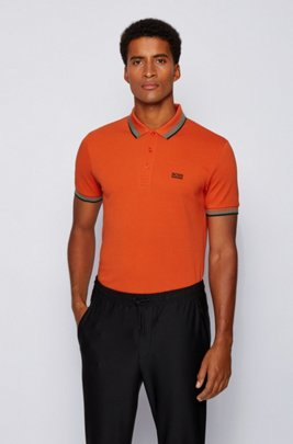 Cotton-piqué polo shirt with logo undercollar, Dark Orange
