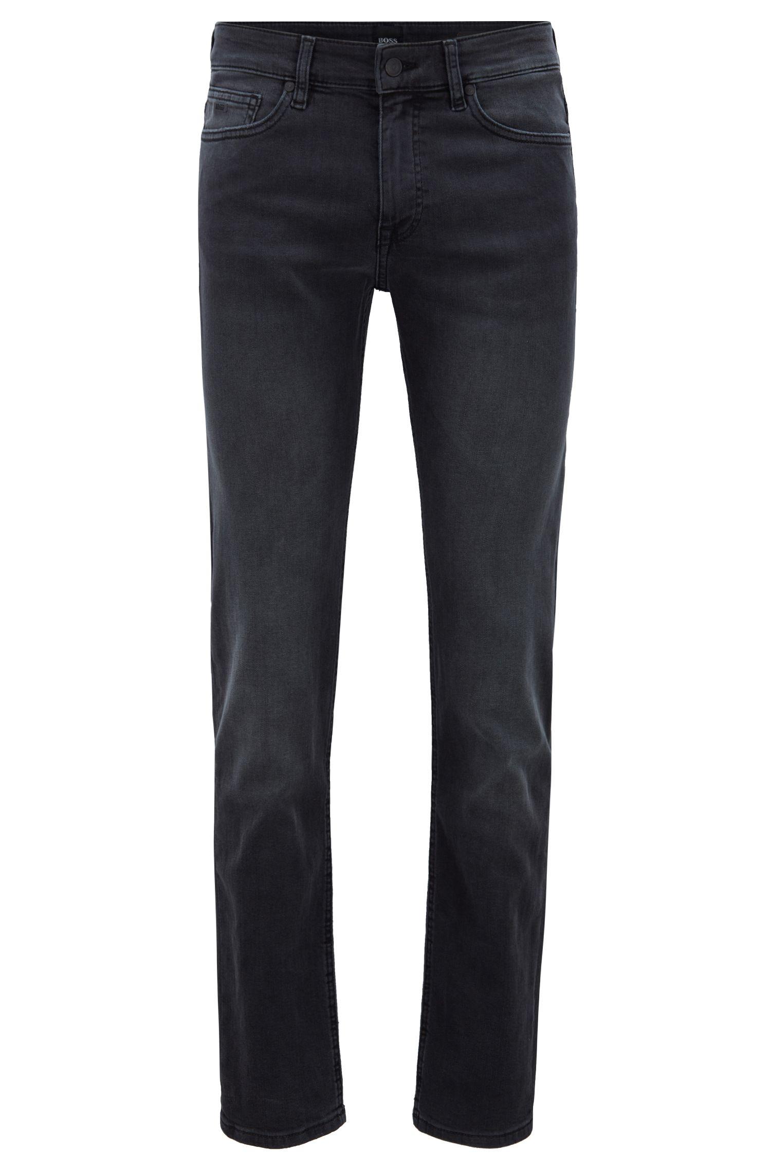 Slim-fit jeans in super-stretch grey denim, Charcoal