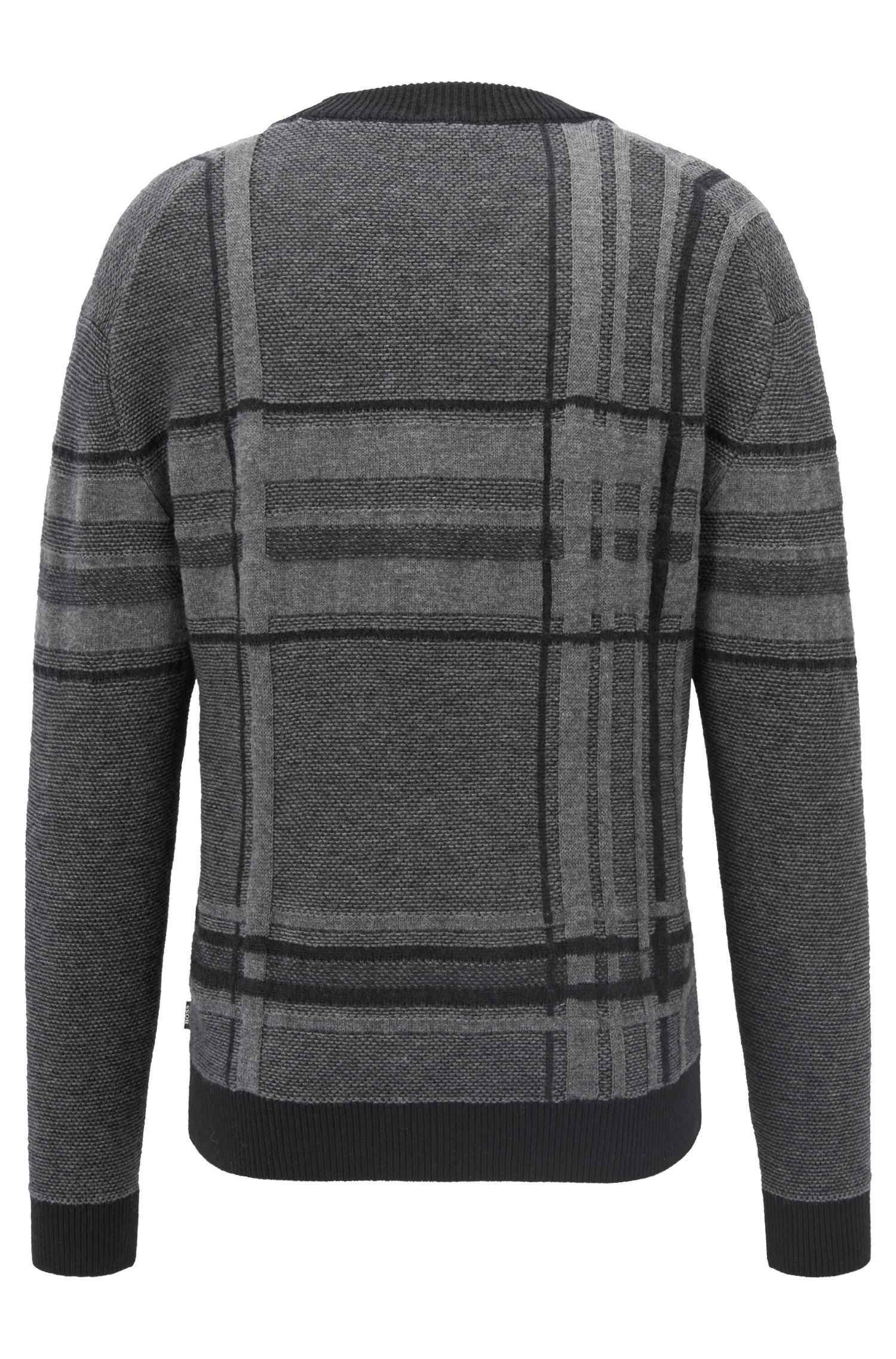 V-neck sweater in knitted large-scale check, Black